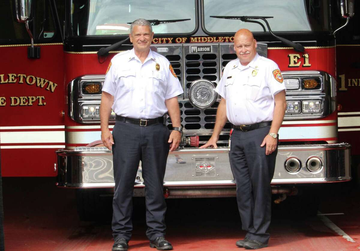 From left, Middletown Deputy Fire Chief Al Leary and Chief and Emergency Operations Director Robert Kronenberger will be retiring early next month. Combined, they have 62 years of experience in the firefighting field.