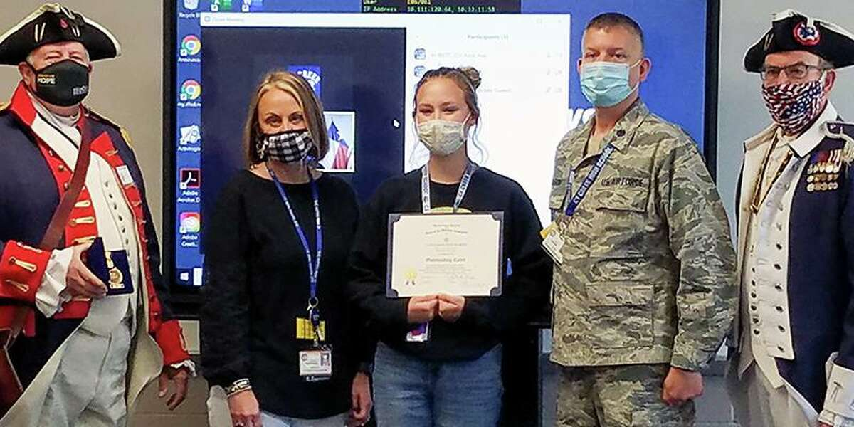 Cypress Creek High School Air Force junior ROTC Cadet Karli McMillin (middle) was chosen as the second runner-up in the Texas Society of the Sons of the American Revolution Enhanced JROTC Program contest last month, Cy-Fair ISD announced in a news release June 9.