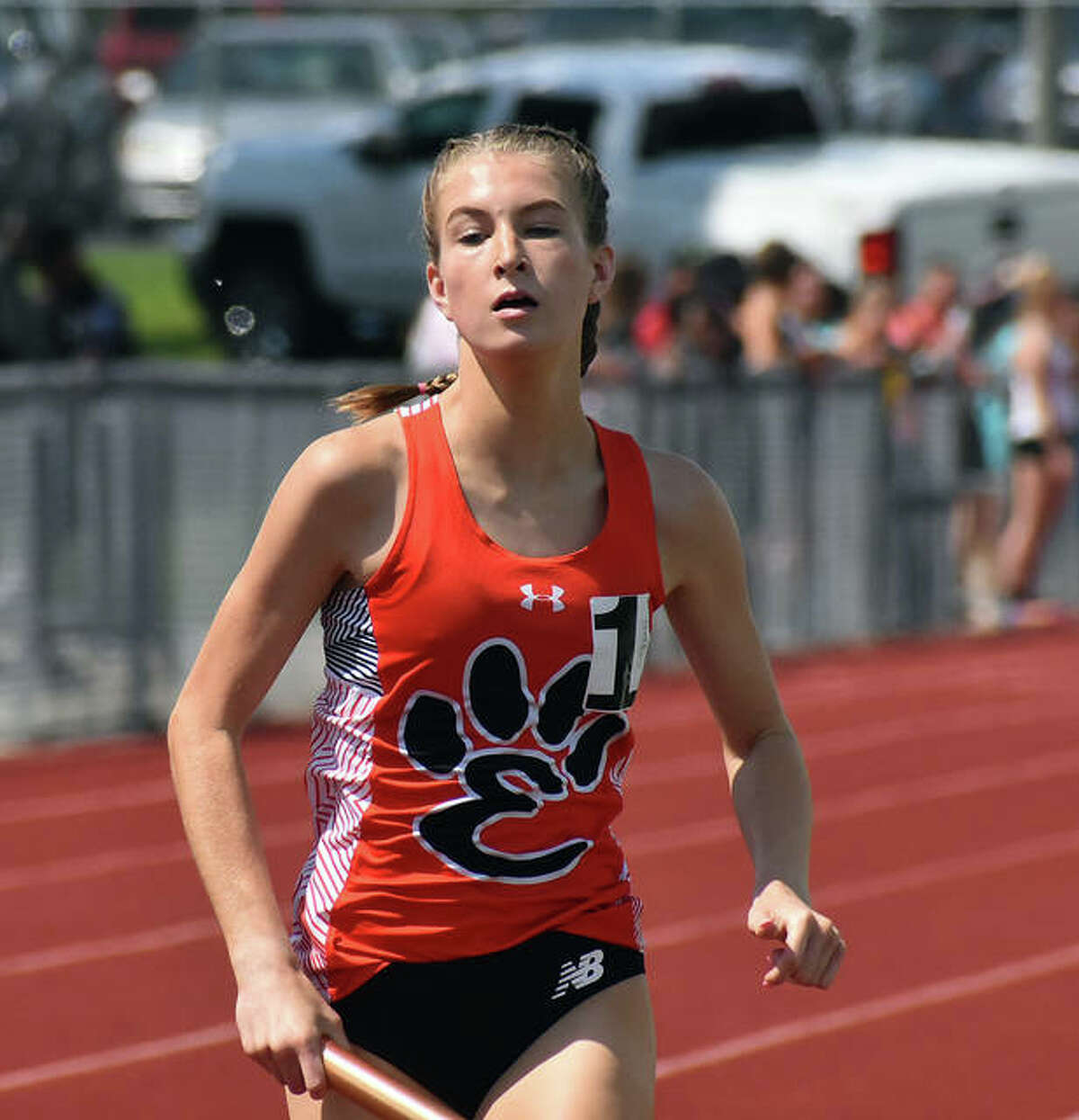 Edwardsville's Maya Lueking competes in the 3,200-meter relay at the Class 3A O'Fallon Sectional.