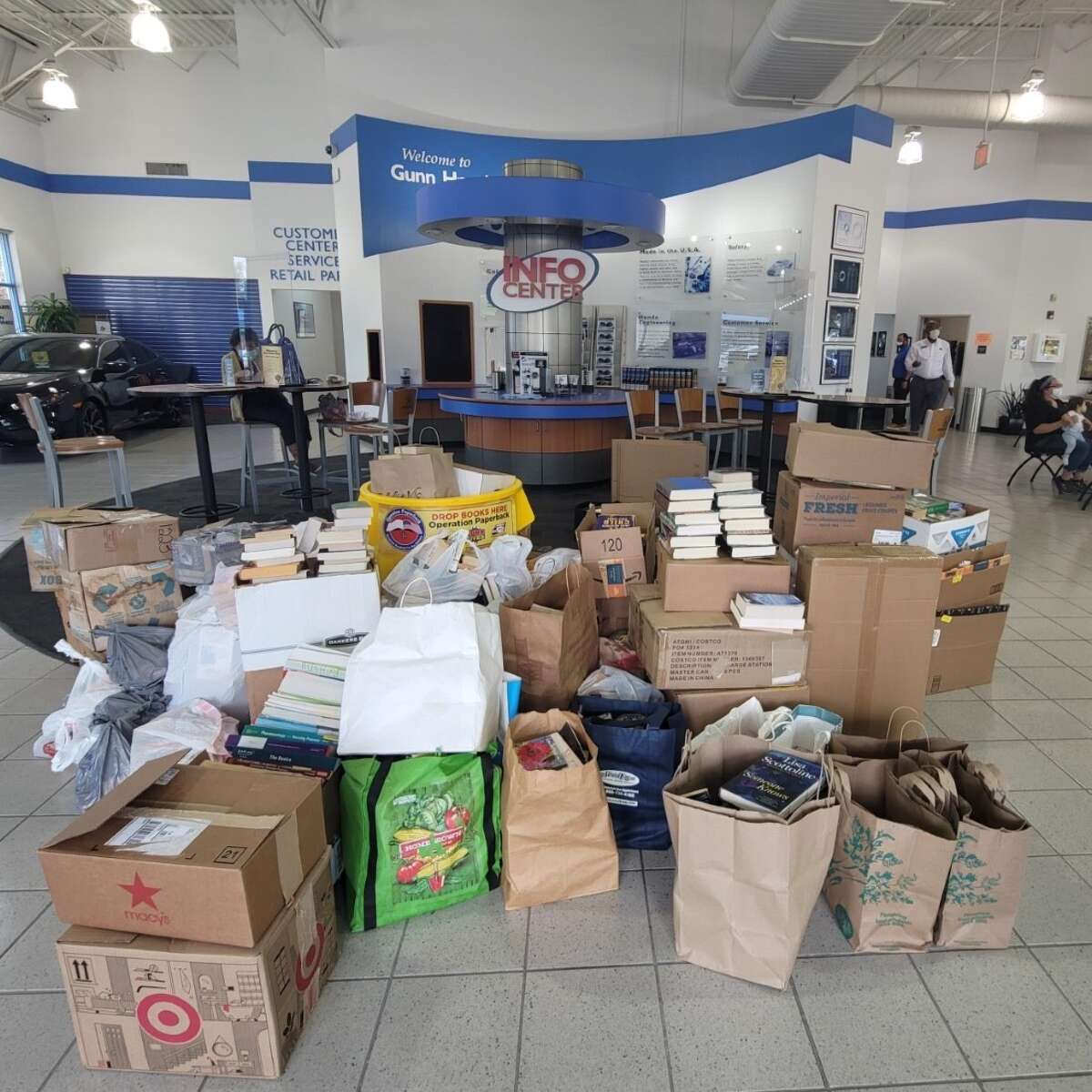 San Antonians were encouraged to drop off books at all Gunn Auto dealerships and collision centers in San Antonio and Denton, Texas.
