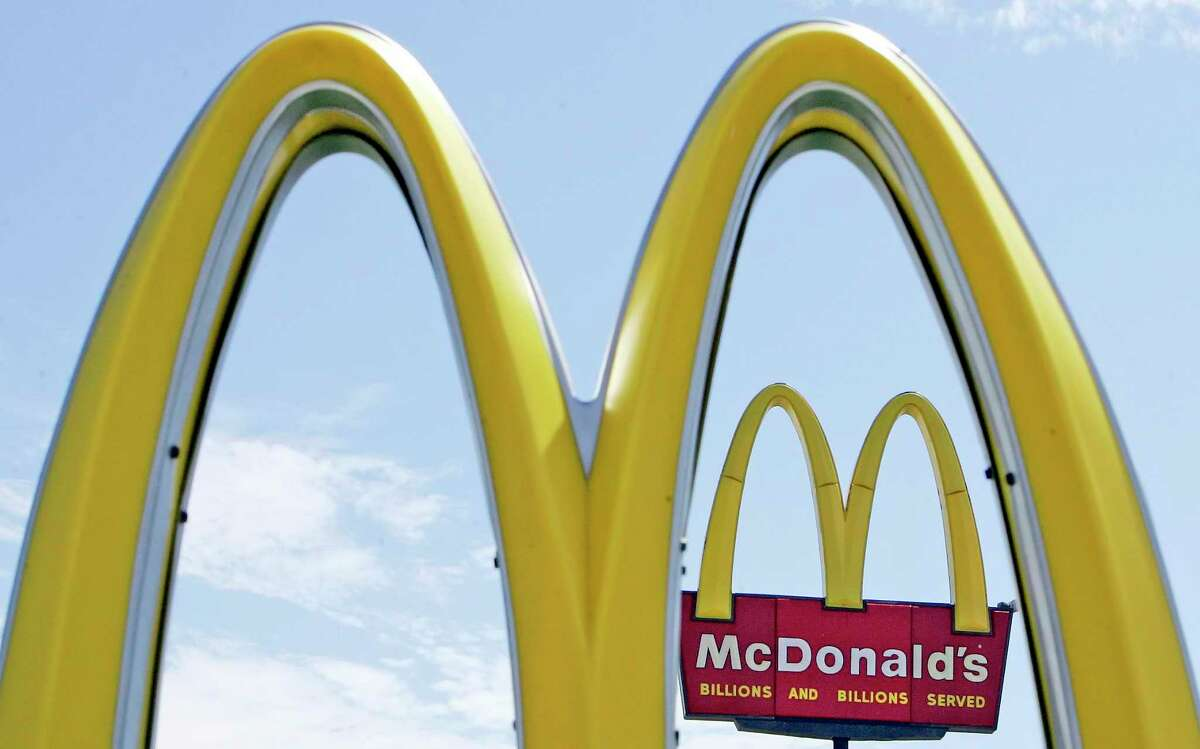 The golden arches of a McDonald's restaurant.