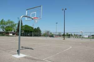 The basketball courts at Pigeon Village Park, where activities for the Pigeon Summer Rec Program take place. The program has a new format this year where three two-week long sessions take place and spots are limited to 30 kids per session. (Robert Creenan/Huron Daily Tribune)