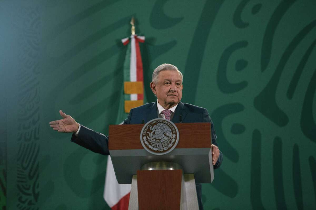 Andres Manuel Lopez Obrador, Mexico's president, speaks during a news conference in Mexico City on Feb. 8, 2021.