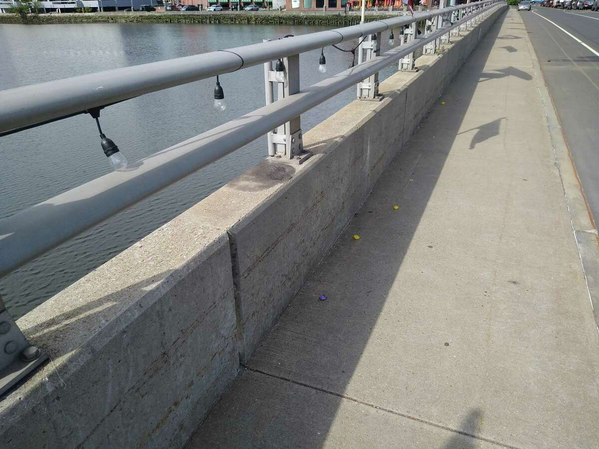 Shots of the Ruth Steinkraus Cohen Bridge, after balloons celebrating Pride Month were reportedly torn off of the lights on one side of the bridge.
