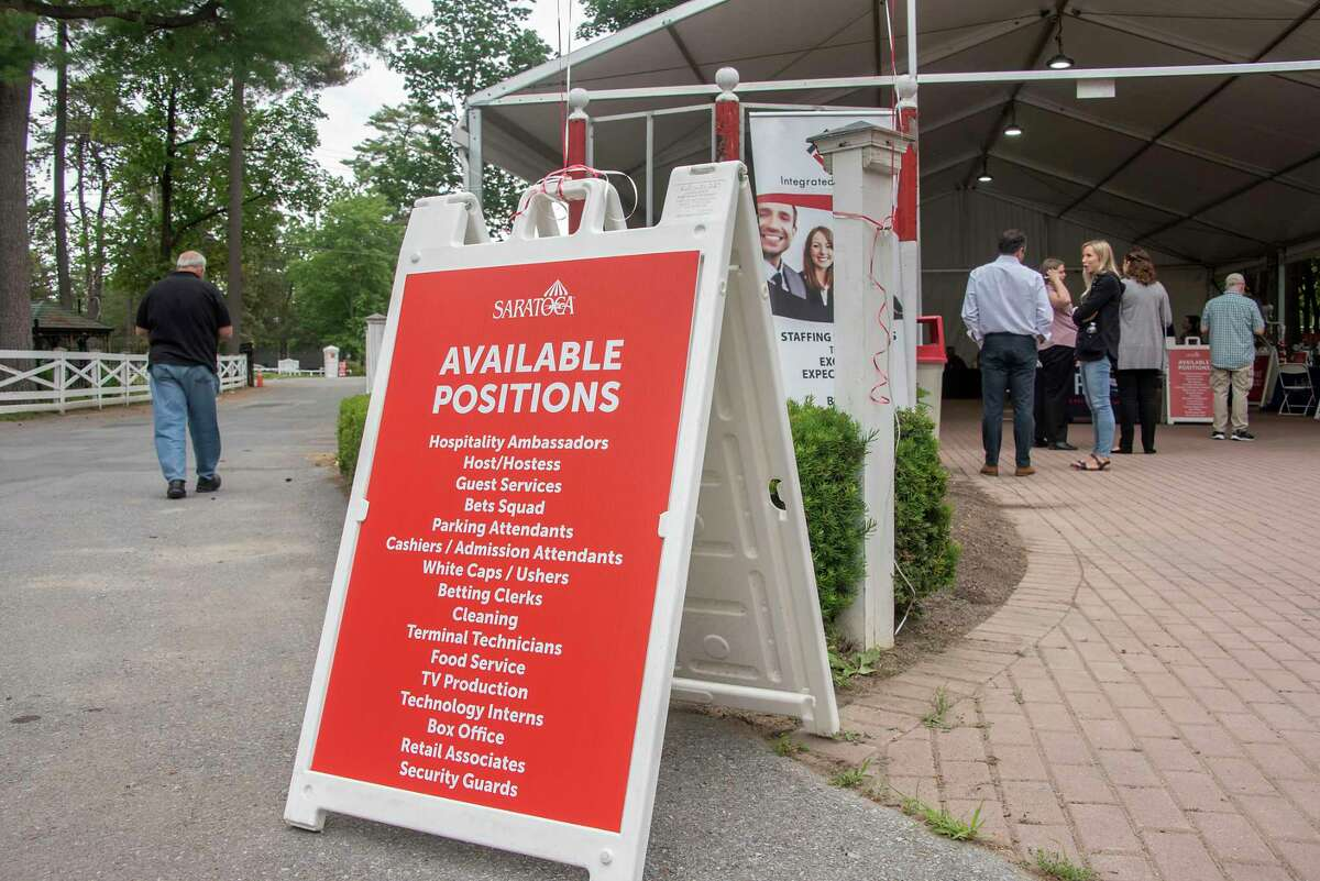 The New York Racing Association, Inc. (NYRA) hosts a two-day job fair to recruit workers for the 2021 summer meet at Saratoga Race Course on Friday, June 11, 2021 in Saratoga Springs, N.Y. (Lori Van Buren/Times Union)