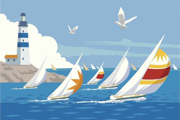Yachts with spinnakers racing on a blue ocean, with seagulls and lighthouse in the background.