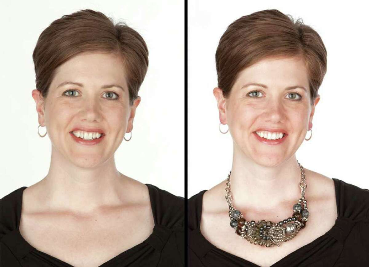 Left, GOOD: Corporate manager Julie Markham, of Southbury, is tall with an oval, slightly oblong face and a long neckline. But the earrings she often wears appear lost against her features. Right, BETTER: Paired with a statement necklace, however, the lighter earrings create a pleasing balance.