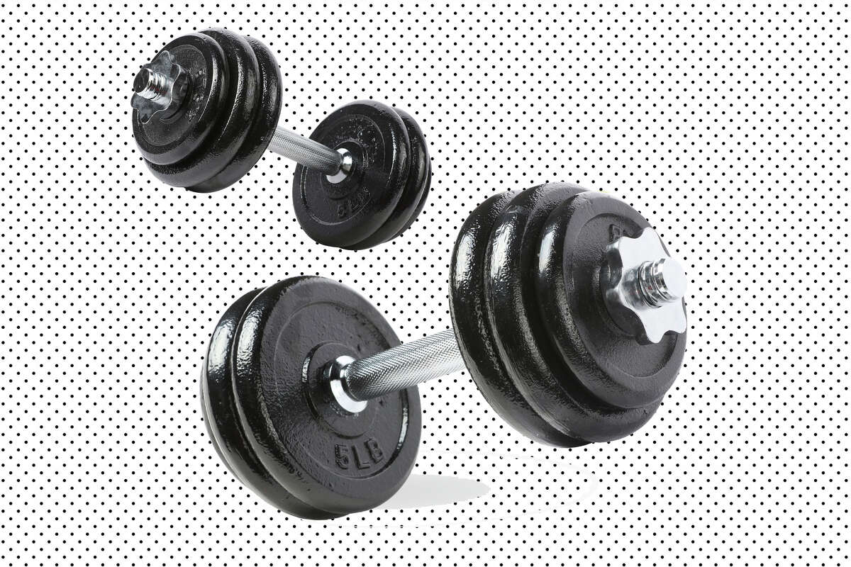 Adjustable cast iron dumbbell set with case