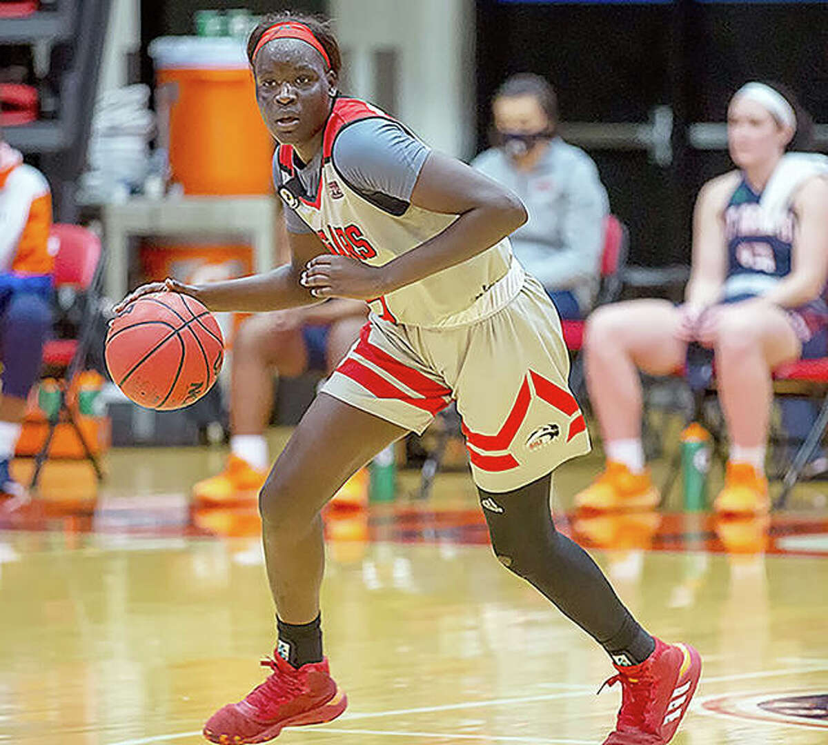 SIUE women's basketball junior Ajulu Thatha from Gambella, Ehiopia, will take part in the 2021 Red Bull USA Basketball 3X Nationals June 12-13.
