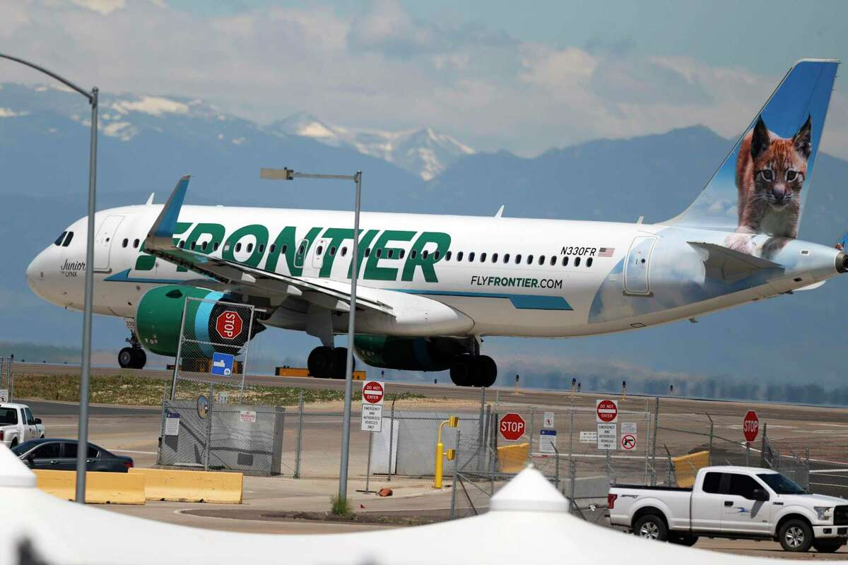 Frontier Airlines has launched a route between Bradley International Airport in Windsor Locks, Conn., and Hartsfield-Jackson Atlanta International Airport. In this June 10, 2020 file photo, a Frontier Airlines plane heads down a runway for take-off from Denver International Airport. Denver is another of the cities to which Frontier flies from Bradley.
