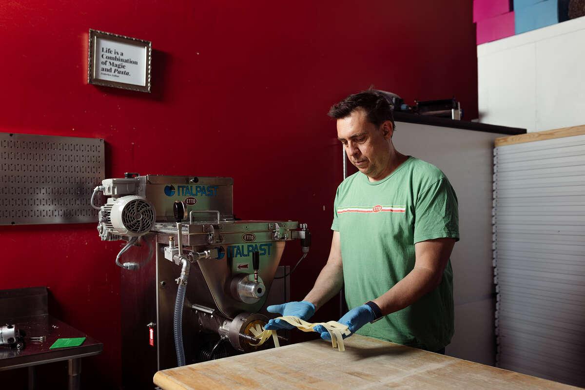 Brian Terrizzi, owner of Etto, makes fettuccine.
