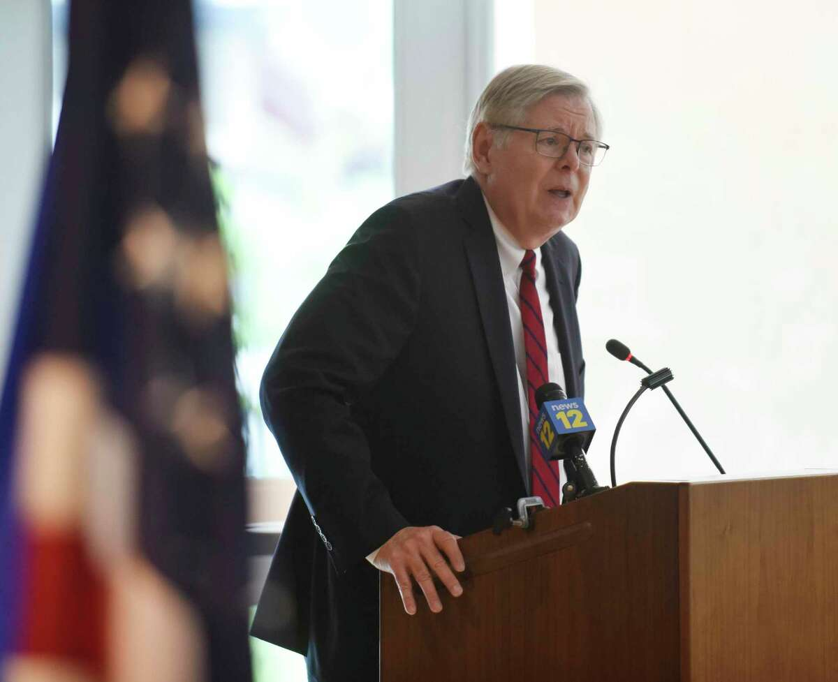 Mayor David Martin speaks at a ceremony promoting police officers at the Stamford Police Department in Stamford, Conn. Tuesday, June 8, 2021.