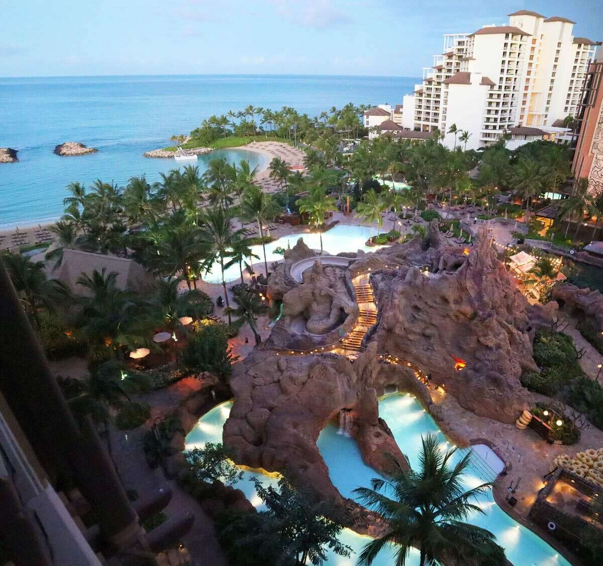 The vista from an ocean view room at Aulani.