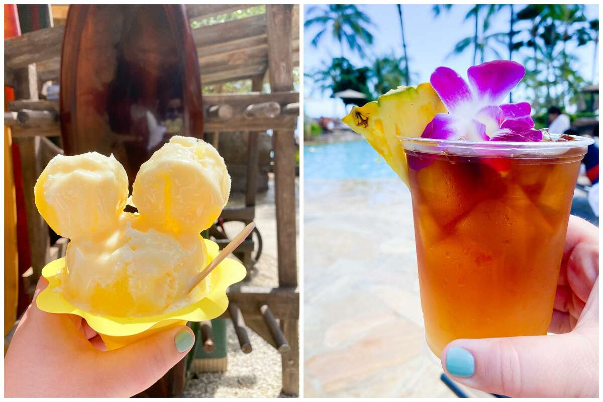 Mickey shave ice, left, and possibly the best mai tai ever, right.
