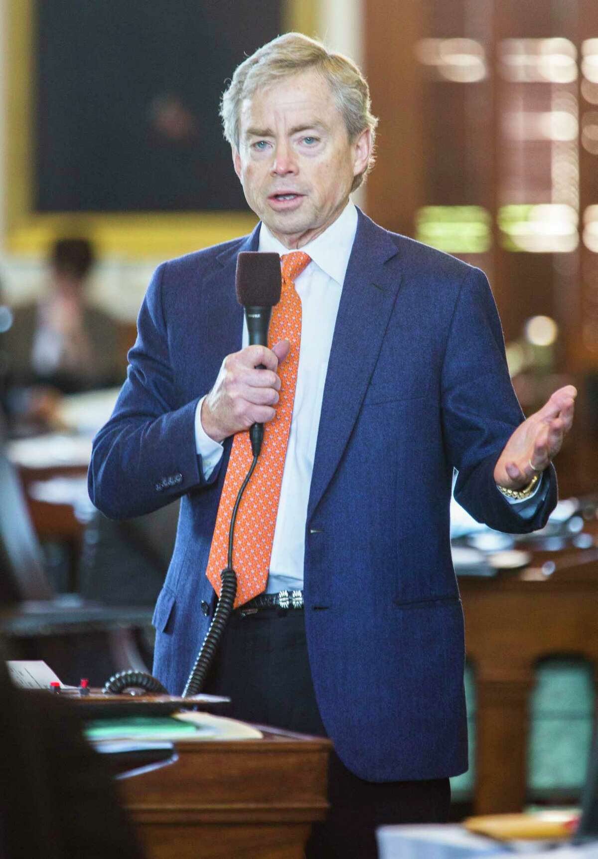 Sen. Don Huffines (R-Dallas) speaks about open carry legislation during the final days of the 84th Texas legislature regular session on Friday, May 29, 2015 at the Texas state capitol in Austin, Texas. (Ashley Landis/The Dallas Morning News/TNS)