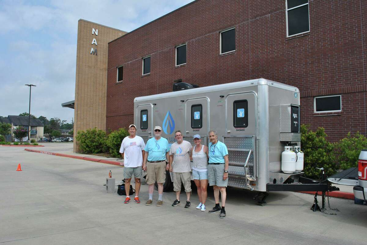 Northwest Asssistance Ministries hosts mobile showers from Moving Waters at their facility every Monday, giving their clients the chance to bathe.
