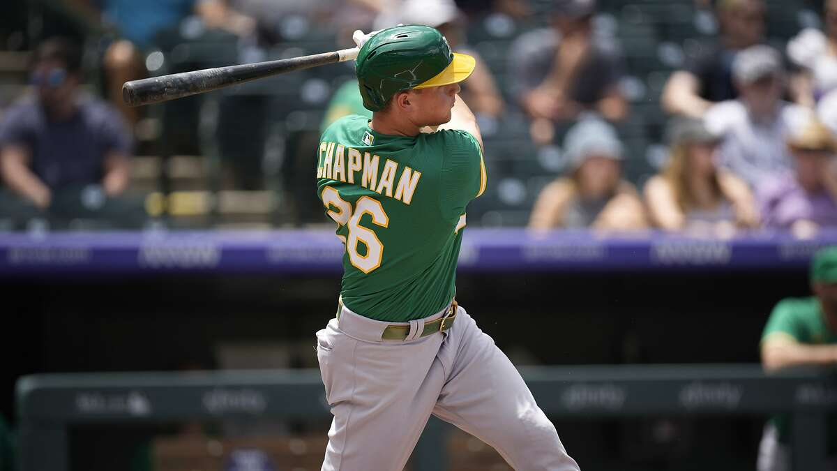Oakland Athletics third baseman Matt Chapman (26) in the second inning of a baseball game Sunday, June 6, 2021, in Denver. (AP Photo/David Zalubowski)