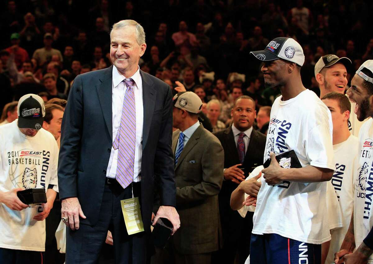NEW YORK, NY - MARCH 12: Head coach Jim Calhoun and Kemba Walker #15 of the Connecticut Huskies celebrate after defeating the Louisville Cardinals during the championship of the 2011 Big East Men's Basketball Tournament presented by American Eagle Outfitters at Madison Square Garden on March 12, 2011 in New York City. (Photo by Chris Trotman/Getty Images)