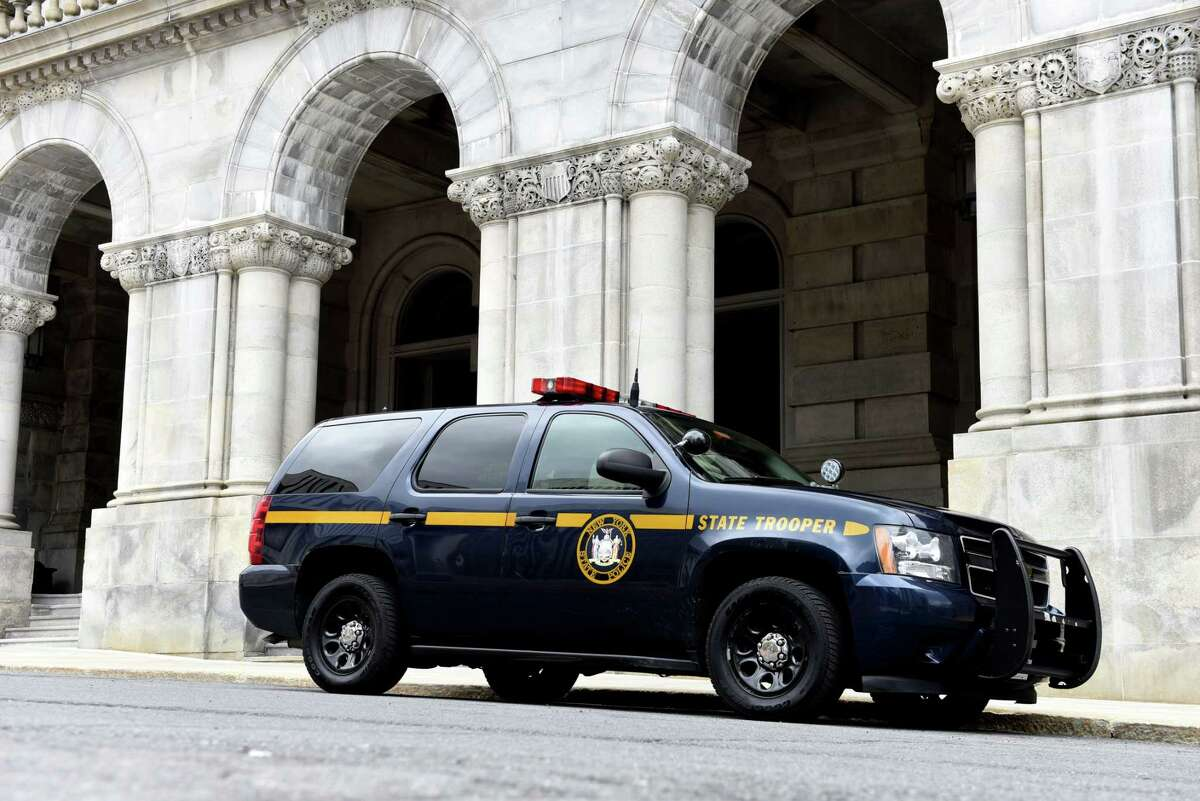 A New York State Police car is seen parked outside the Capitol on Monday, May, 4, 2020, in Albany, N.Y. (Will Waldron/Times Union)