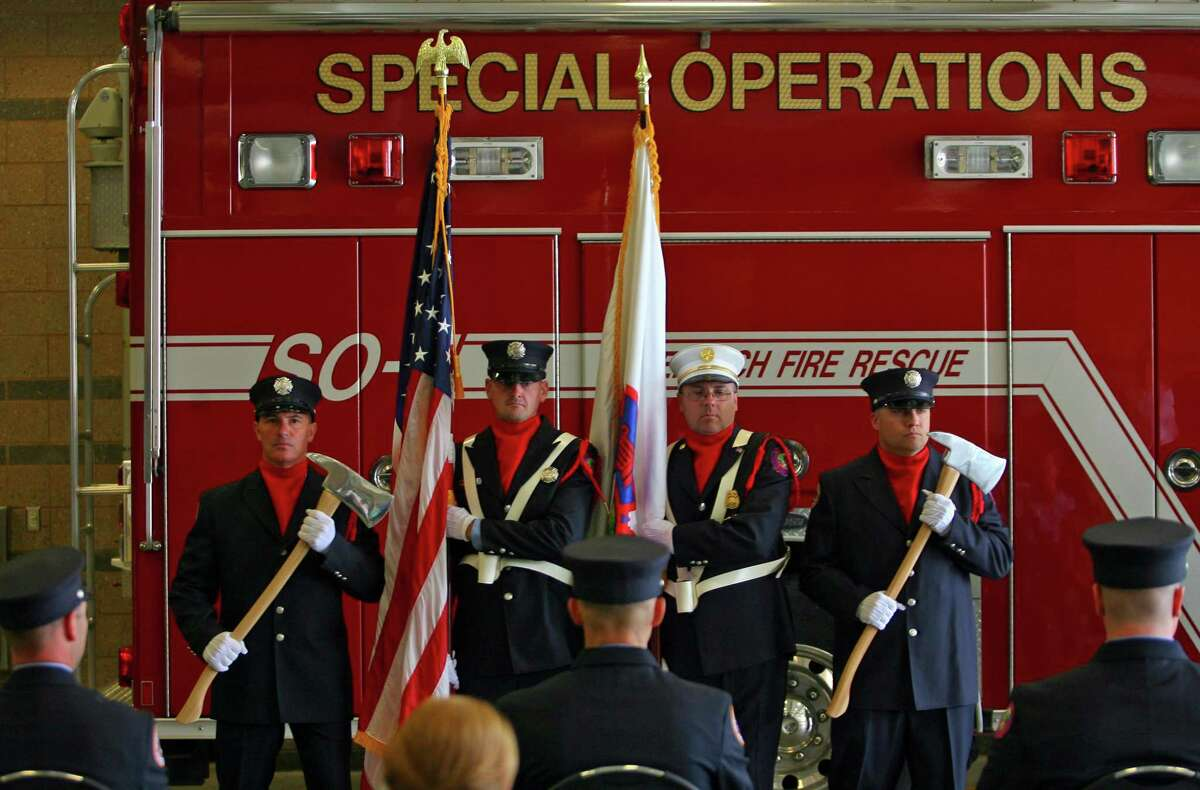 Greenwich Fire Department held a swearing-in ceremony for three firefighters at its headquarters in Greenwich, Conn., on Friday June 11, 2021. COVID-19 postponed the earlier swearing-in ceremony.