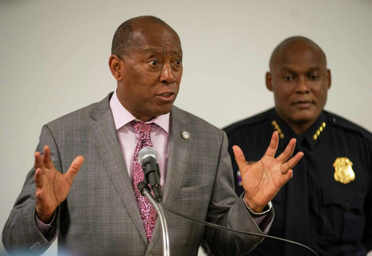 Houston council members increased funding for the police and fire departments with its 2021 budget. Mayor Sylvester Turner speaks during a press conference releasing body-worn camera footage of a May 21st officer-involved shooting at a traffic stop, Thursday, June 3, 2021, inside a conference room in HPD's downtown office in Houston.