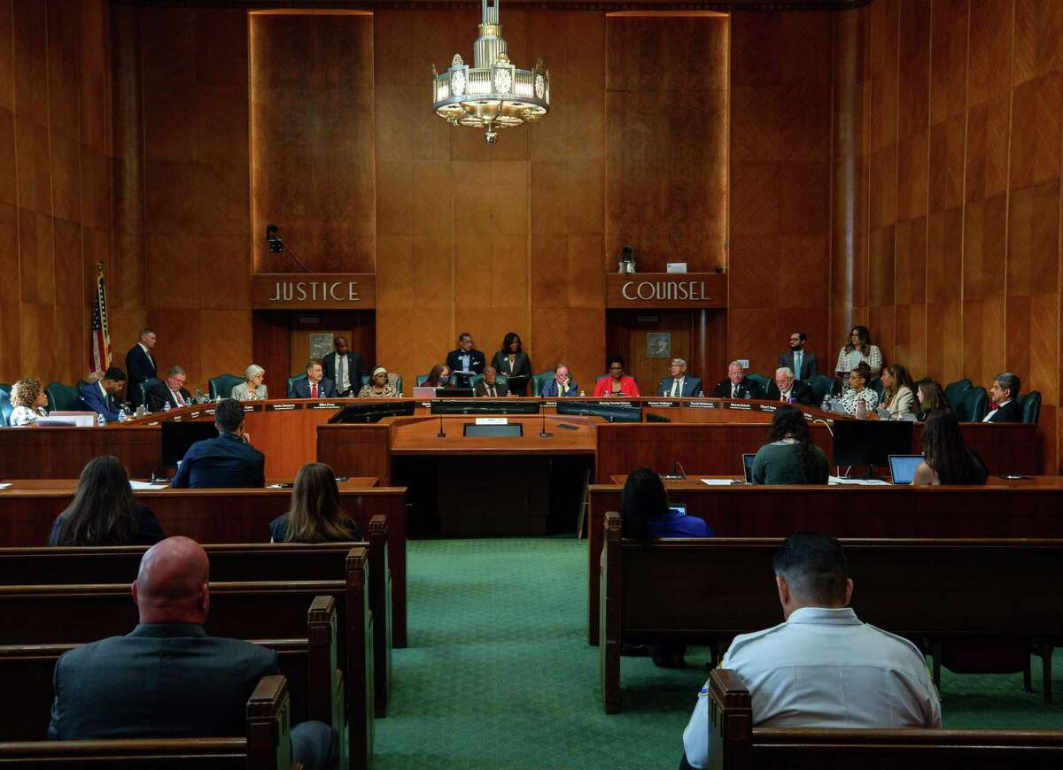 City Council met in person for the first time in a year to consider the mayor's $5.1 billion budget for the next fiscal year, at City Hall on Wednesday, June 2, 2021, in Houston.