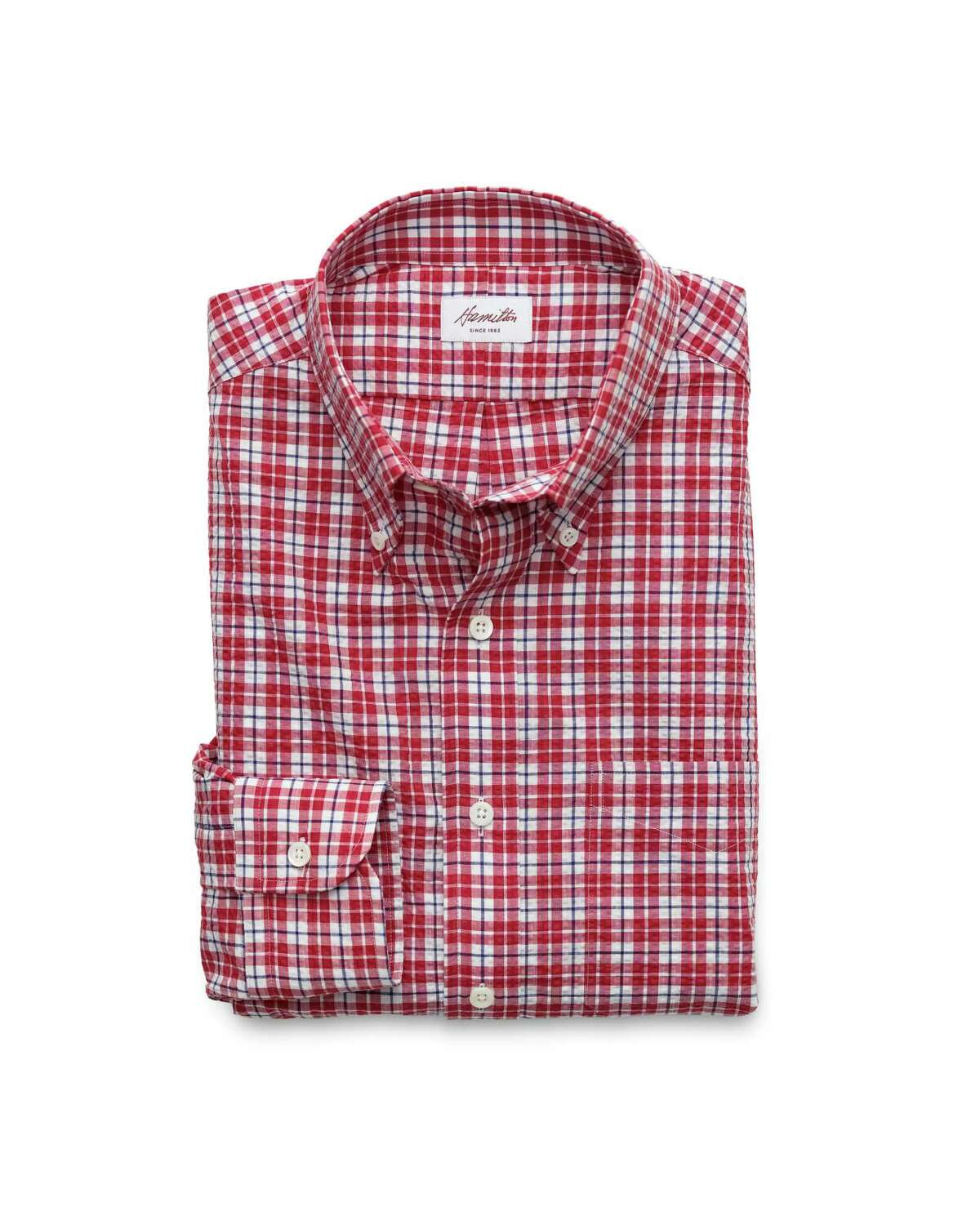 Hamilton Shirts, Houston's legendary home for finest threads, will have dad doing the happy dance with this red, navy and white plaid seersucker charmer; $245 at Hamilton store, 5700 Richmond or hamiltonshirts.com.