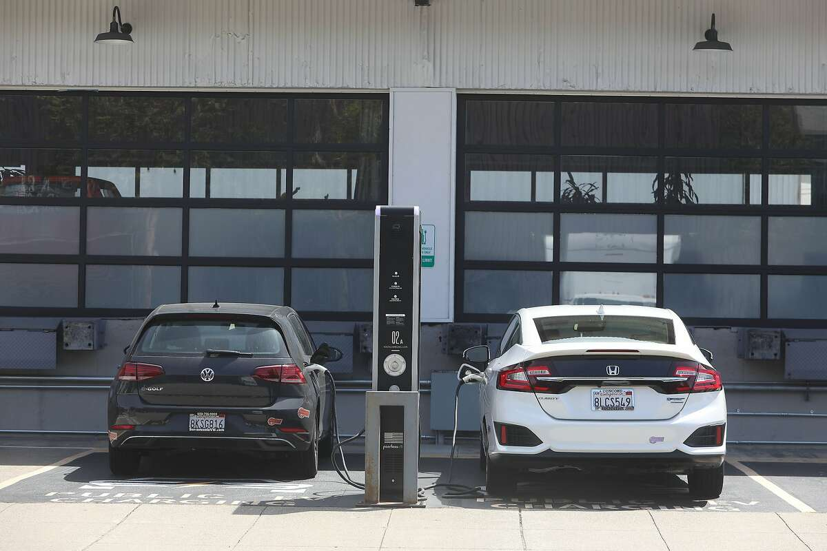 The California Energy Commission says the number of electric vehicle charging stations, such as this one in San Francisco, is not growing fast enough to meet the state's ambitious carbon emissions targets.