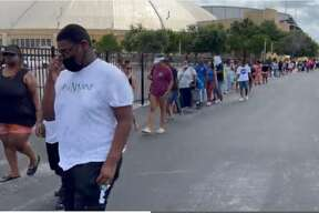 In true San Antonio fashion, people started lining up at 9 a.m. to get their Turkey Leg Hut orders in, the company says. That's two hours before start time. The Houston restaurant, which is hosting a weekend pop-up event, shared video showing a line stretching through the Freeman Coliseum parking lot.