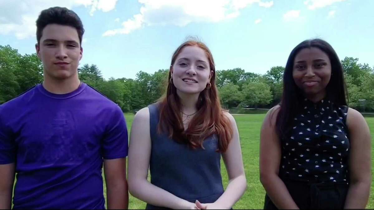 From left to right, Academy of Information Technology and Engineering sophomores Marco Ratermann, Laurel Fuda, and Stacey Pierre recently finished second place in a national competition that tested student's ability to play the stock market.