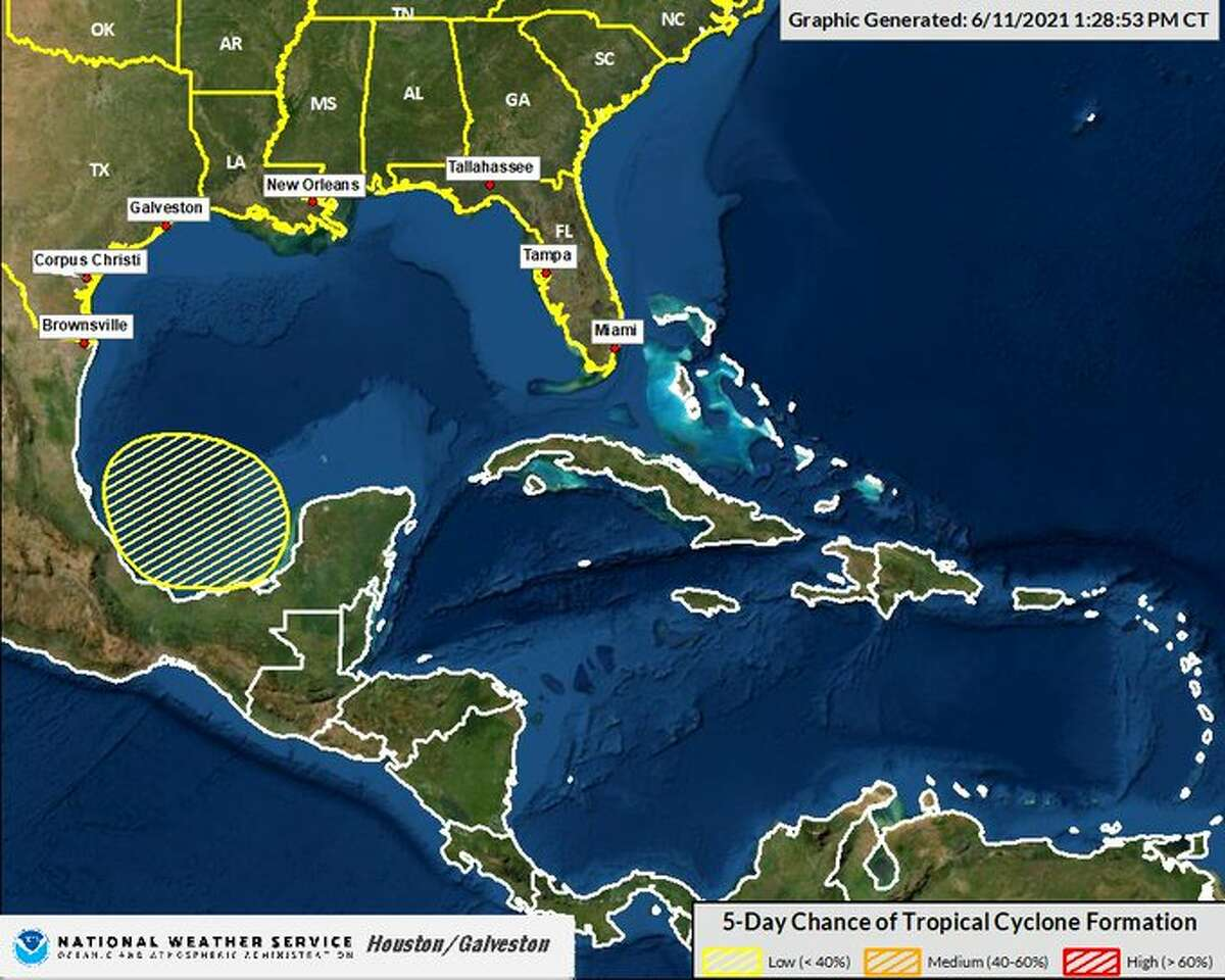 There is a 20 percent chance of a tropical system forming in the Gulf in the next five days, according to the National Weather Service.