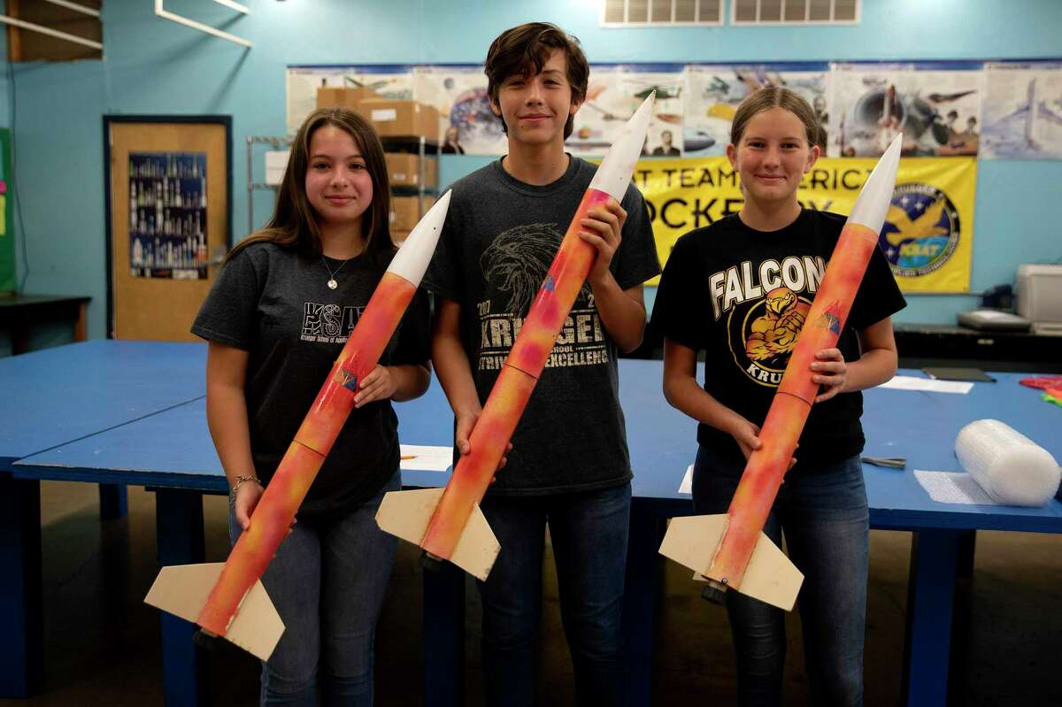 Melina Hinojosa, Gabriel Villalobos and Lauren Dehart, all students from North East ISD's Krueger School of Applied Technologies, will compete in a national rocket competition Saturday.