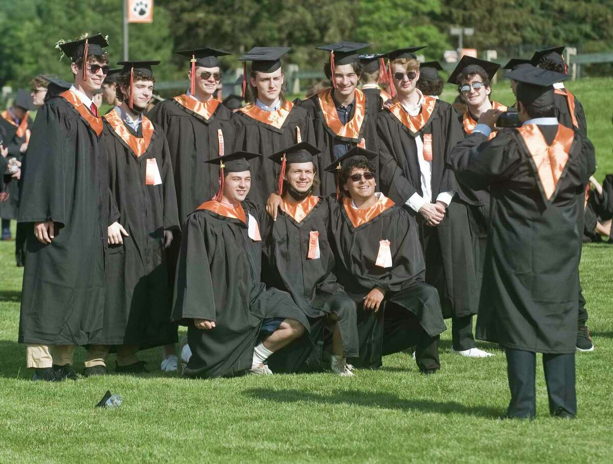 Classmates prior to the Ridgefield High School graduation. Friday, June 11, 2021