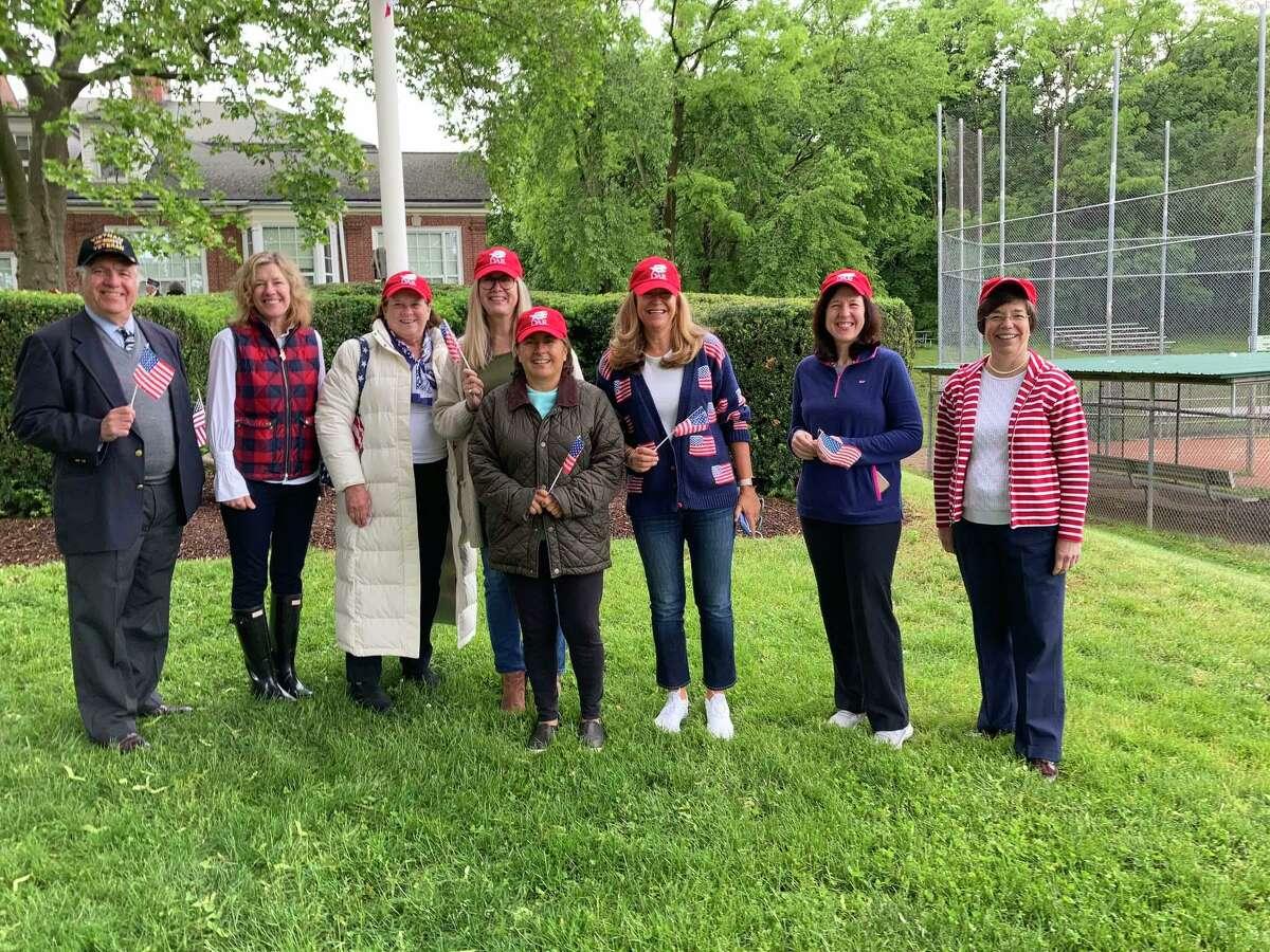 From left, Dean Gamanos, a Vietnam veteran; Selectwoman Lauren Rabin; and DAR members Jolene Mullen, Jenny Larkin, Wynn McDaniel, Jane Tranfo, Karen Popp and Wendy Dziurzynski take part in last month's Memorial Day observation in Byram.
