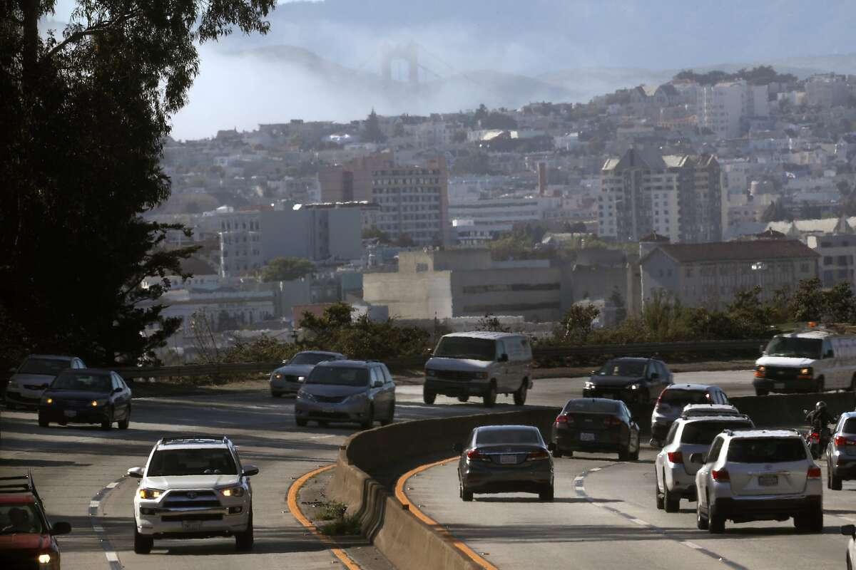 View of 101 freeway heading in San Francisco, Calif.