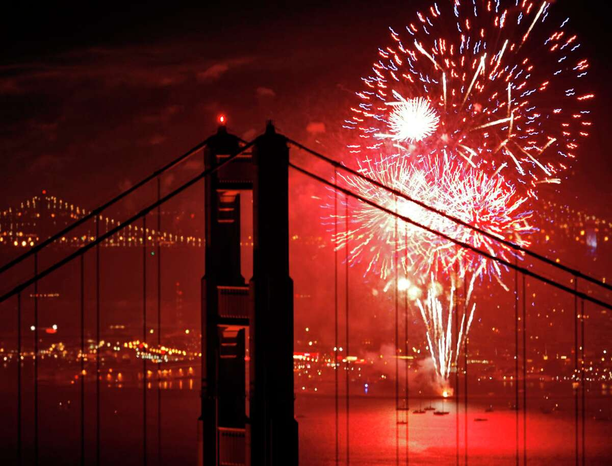 San Francisco's July Fourth fireworks, seen from the Marin Headlands, weren't obscured by fog in 2013.