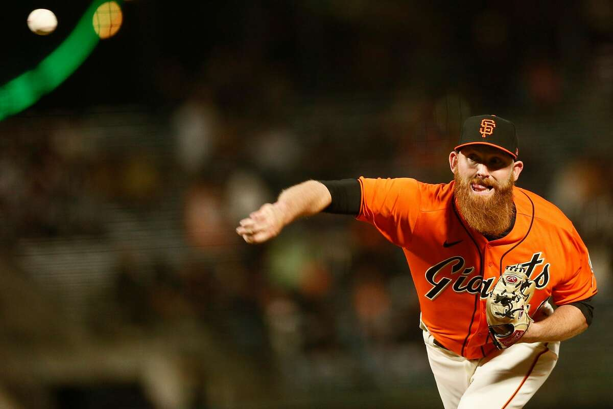 San Francisco Giants relief pitcher Zack Littell (56) in the sixth inning during an MLB game against the San Diego Padres at Oracle Park, Friday, May 7, 2021, in San Francisco, Calif.