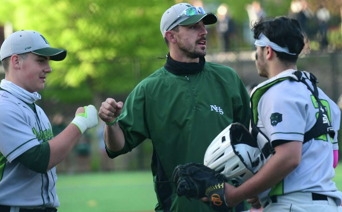 Norwalk High School Bears coach Ryan Mitchell and his team take on the Brien McMahon High School Senators in their FCIAC baseball game on May 12, 2021 at BMHS in Norwalk, Conn.