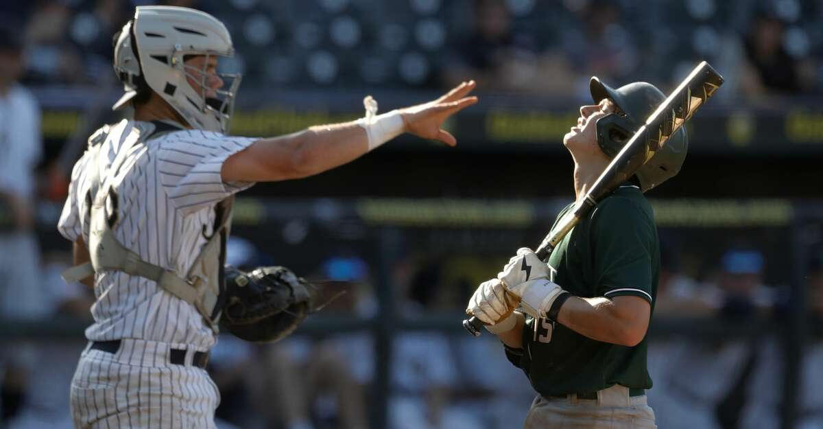James Vaquero #15 of Strake Jesuit reacts after taking a strike in the sixth inning of a Class 6A state semifinal game during the UIL State Baseball Championships at Dell Diamond, Friday, June 11, 2021, in Round Rock.