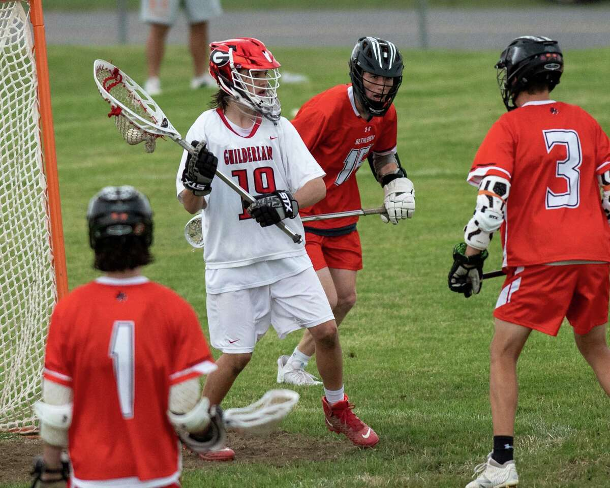 Guilderland keeper James Meier makes a save against Bethlehem during the Class A semifinals at Guilderland High School on Friday, June 11, 2021. (Jim Franco/Special to the Times Union)