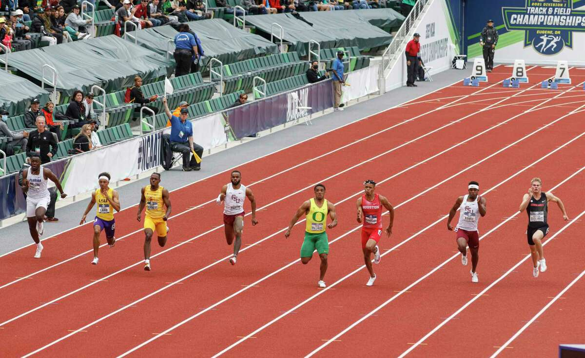 Florida State sprinter Jo'Vaughn Martin, fourth from the left, finished fourth in the men's 100 meters at the NCAA Division I Outdoor Track and Field Championships, Friday, June 11, 2021, at Hayward Field in Eugene, Ore. LSU's Terrance Laird, second from left, won. Martin is a 2017 graduate of Conroe High School.