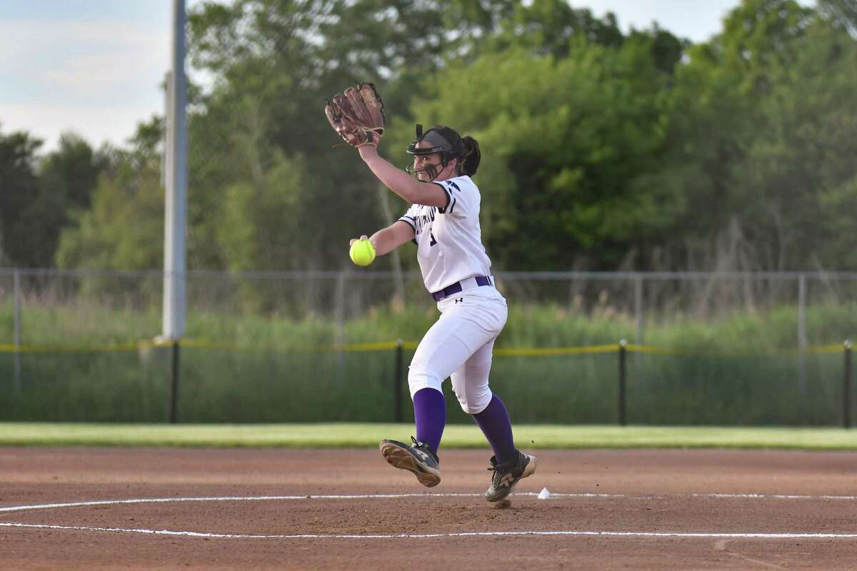 North Branford's Kiley Mullins delivers a pitch against Seymour during the CIAC Class M championship game on Friday.