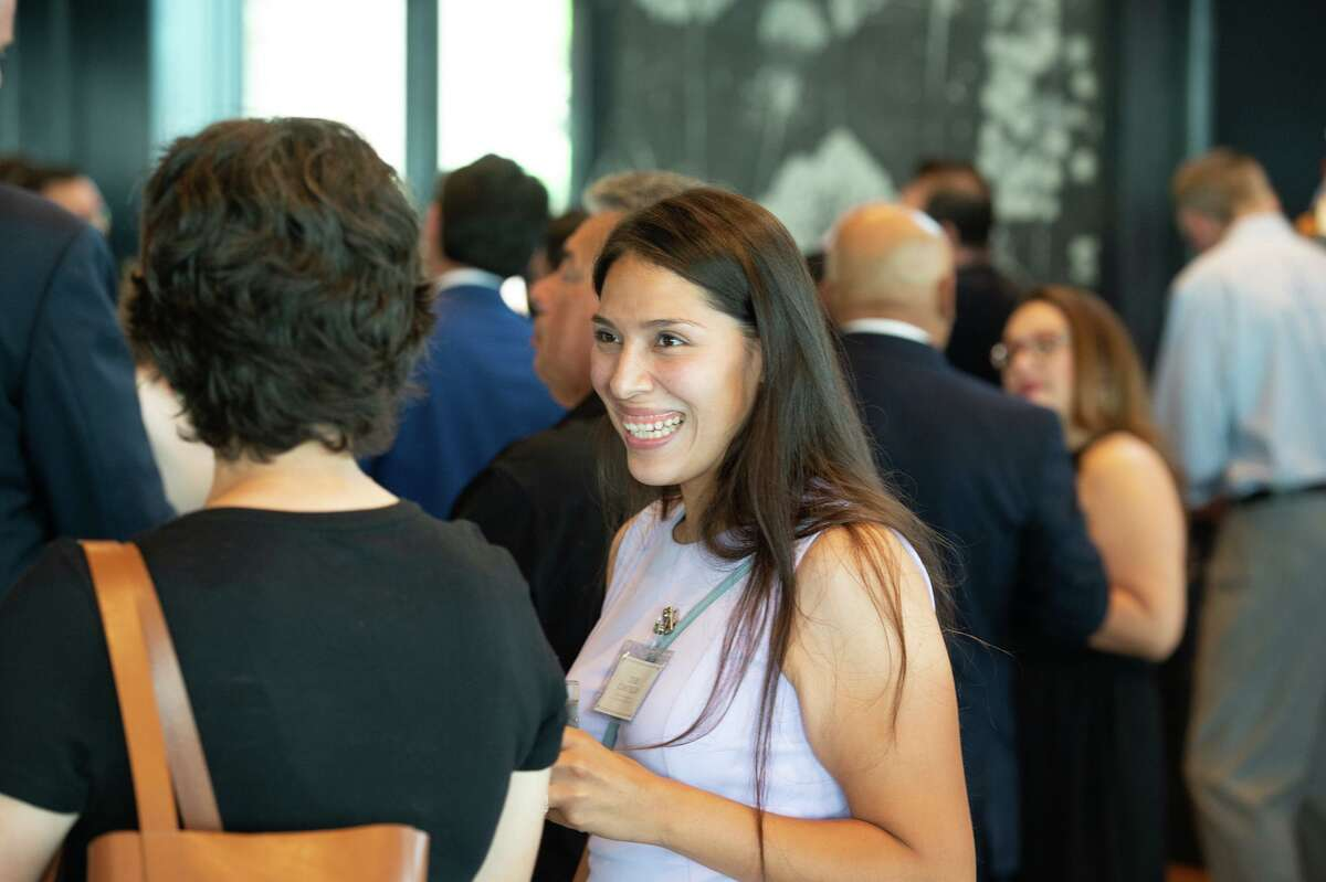 Recently elected Councilwoman Teri Castillo speaks with guests during a reception sponsored by the San Antonio Hispanic Chamber of Commerce for newly elected and re-elected city officials at the Red Berry Estate on Wednesday evening.