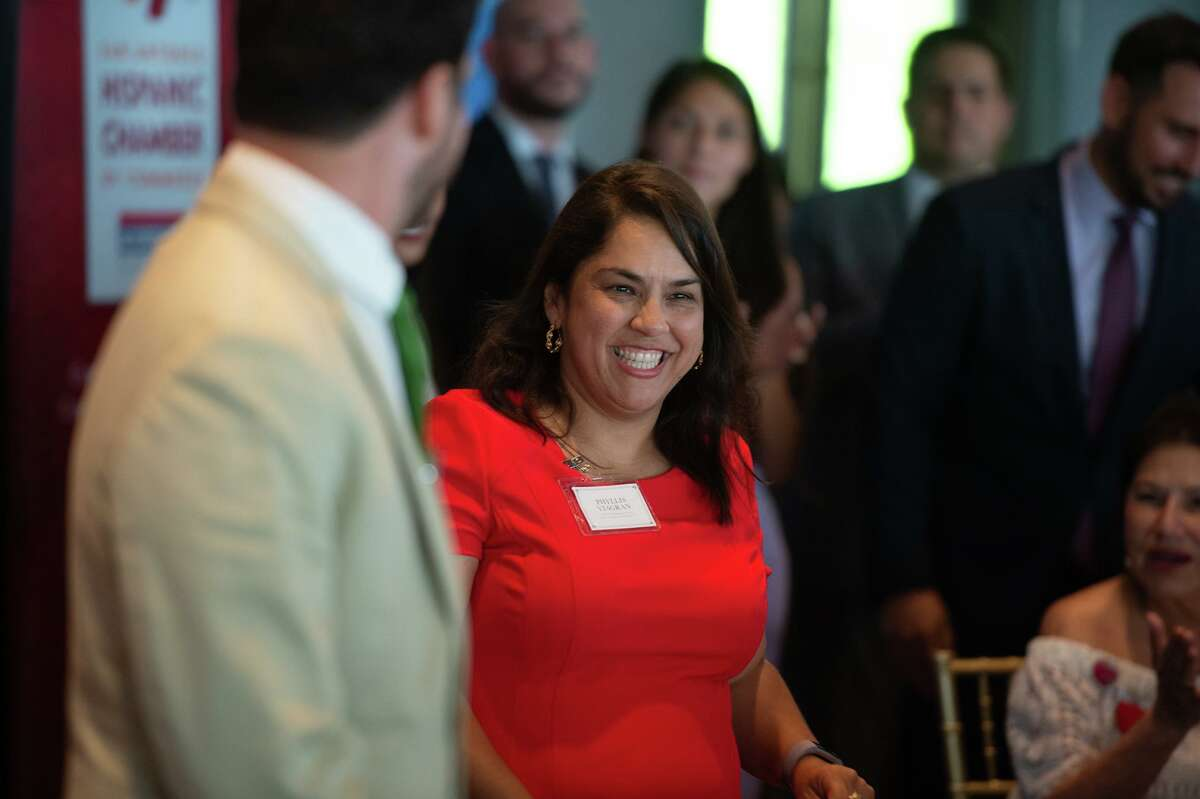 Newly elected City Councilwoman Phylilis Viagran smiles after being introduced during a reception sponsored by the San Antonio Hispanic Chamber of Commerce for newly elected and re-elected city officials at the Red Berry Estate on Wednesday evening.