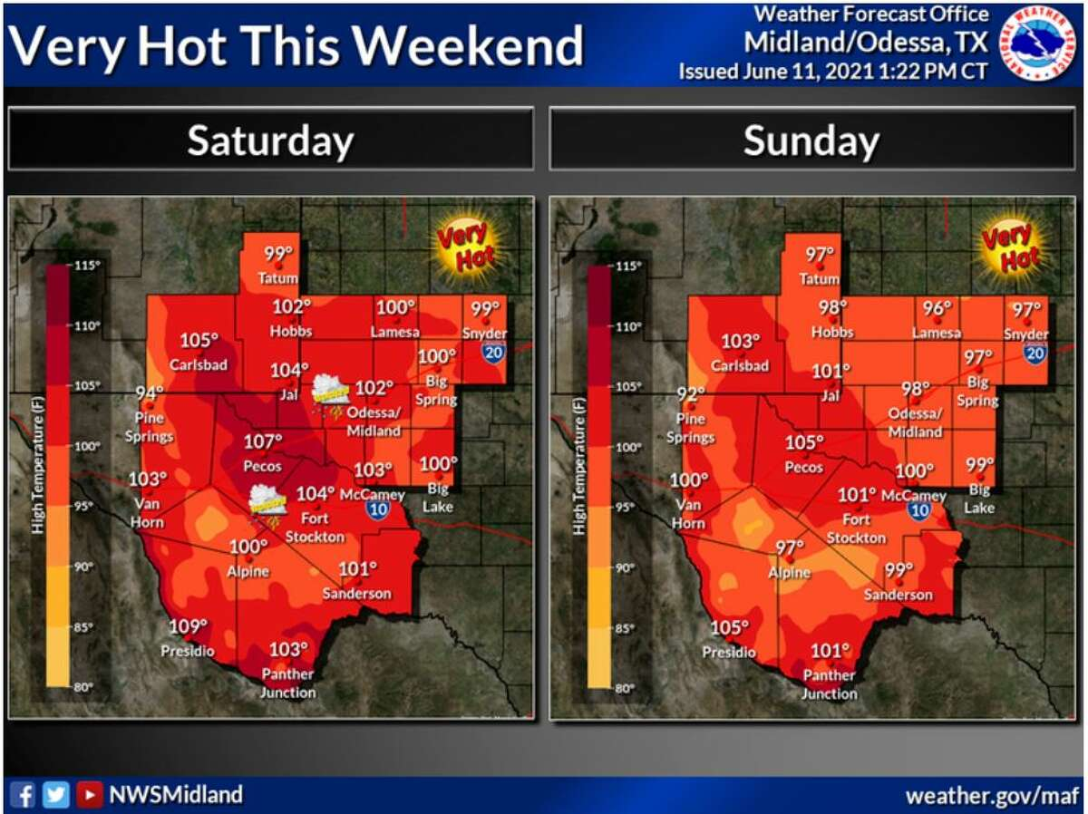 Near or above triple digit temperatures will continue Saturday and Sunday.