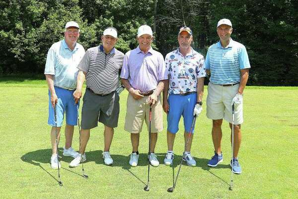 Bobby Valentine, center, plays with Joe Buongiorno, Kevin Faughnan, Ralph Boccuzzi and Frank Pelli in the 15th annual NFL Alumni Charity Golf Classic at the Country Club of Darien on June 7. Valentine is running for mayor of Stamford, his hometown.