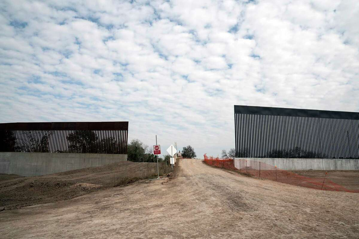 A gap in the border wall in Alamo, Texas, on Jan. 31, 2021. Construction of the wall was suspended when President Joe Biden took office.