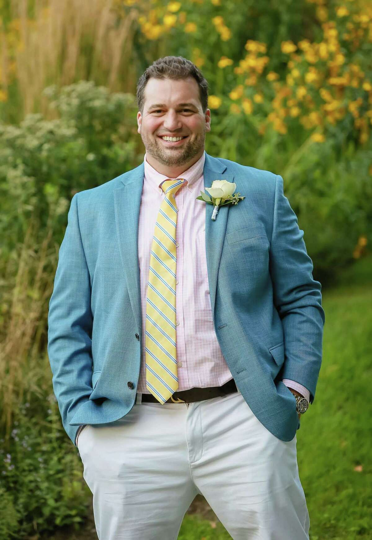 Chris Andrea, of Stamford, poses for a photo at his wedding in Dorset, VT, in September 2020. He died unexpectedly on May 29, 10 days after a major leg surgery.