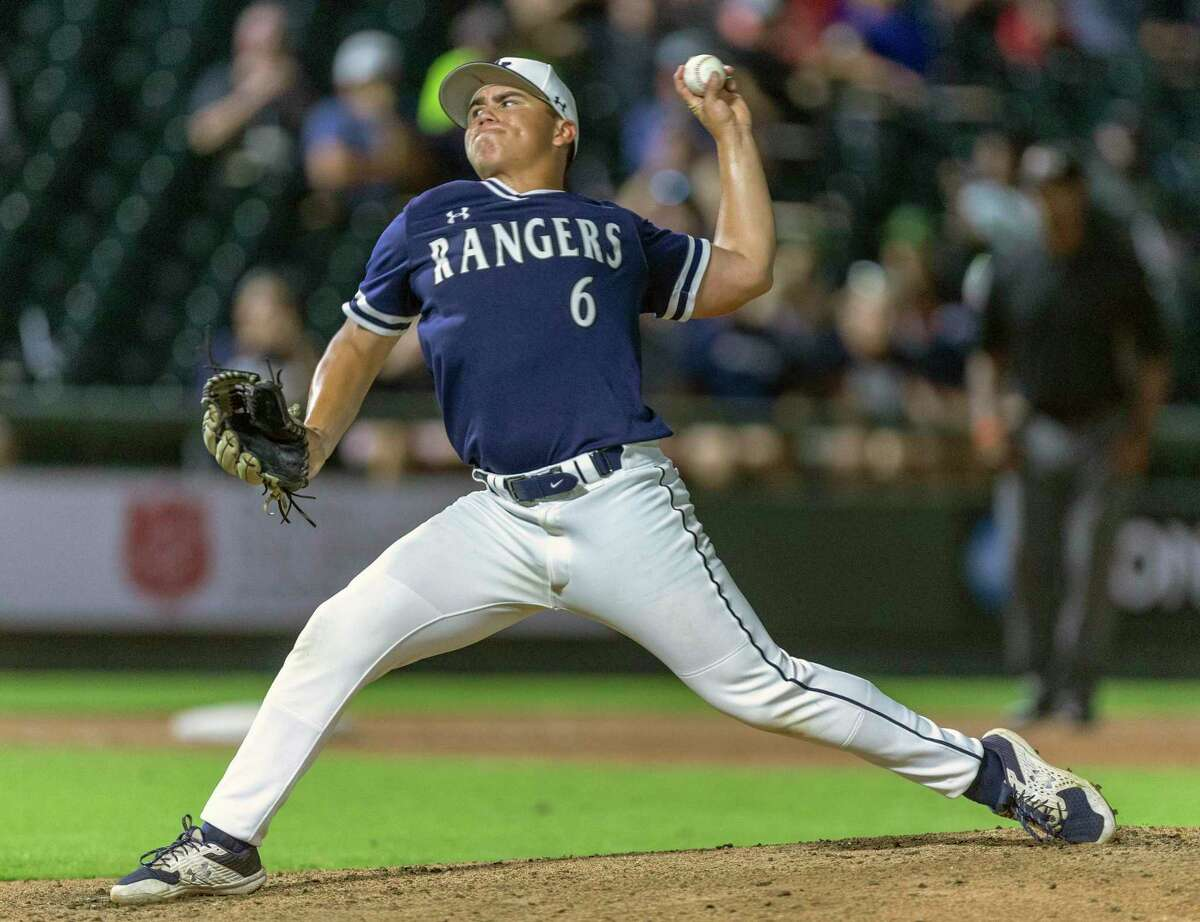 Smithson Valley relief pitcher Jackson Elizondo throws the ball Friday, June 21, 2021 at the Dell Diamond in Round Rock during the Rangers' state semi-final game against Rockwall-Heath.