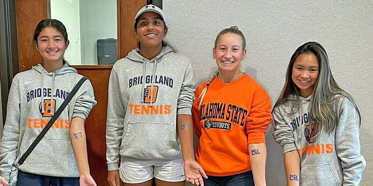 Pictured from left, Bridgeland High School freshman Lindsey Payne, junior Divya Tulluri, junior Emma Eads and junior Alison Chen, all finished the season as state quarterfinalists at the UIL State Tennis Championships on May 20-21 in San Antonio.